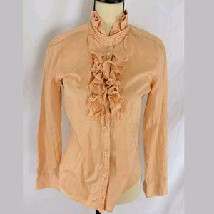 J.Crew Fancy Ruffled Peach Cotton Tuxedo Blouse, 4